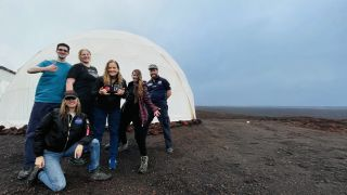 The Valoria 1 crew after arriving at the HI-SEAS station on the volcano Mauna Loa before starting their Mars analog mission.