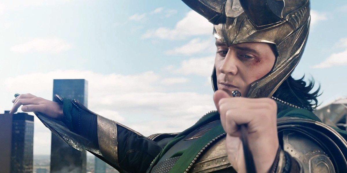 Tom Hiddleston as Loki catching Hawkeye's arrow in The Avengers