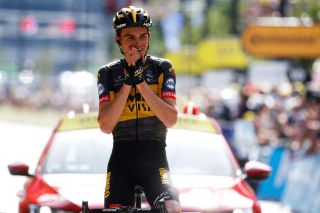 Sepp Kuss of The United States and Team Jumbo-Visma wins stage 15 in Andorra