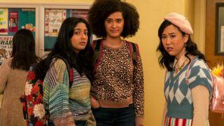 "From left, Maitreyi Ramakrishnan as Devi Vishwakumar, Lee Rodriguez as Fabiola Torres, and Ramona Young as Eleanor Wong in Season 2 of ""Never Have I Ever"" on Netflix."