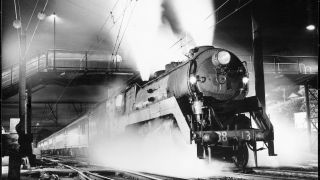 Black-and-white images from the days of steam locomotives