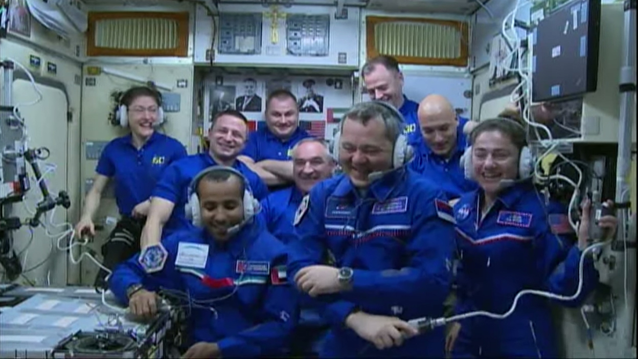 The nine-person crew currently aboard the International Space Station appear to be all smiles. On Sept. 25, the space station welcomed three new people onboard, and this Thursday (Oct. 3) two long-time residents and one short-term visitor will return to Earth.