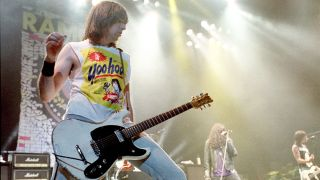 Johnny Ramone of the Ramones performing live with his Mosrite Ventures II guitar
