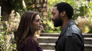 """Anne Hathaway and Chiwetel Ejiofor in """"Locked Down"""" on HBO Max."""