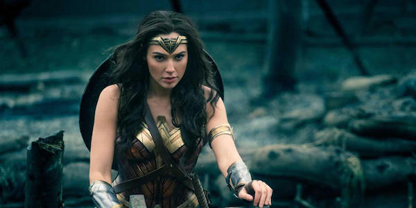 Wonder Woman stepping out of the trench