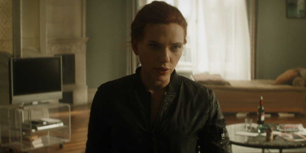 Natasha Romanoff (Scarlett Johansson) stares forward in Black Widow (2021)