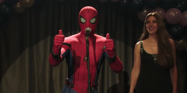 Spider-Man giving thumbs up in Far From Home trailer