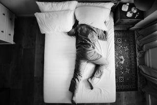 A person having difficulty sleeping