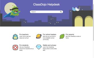 Screenshot from Class Dojo site: Helpdesk