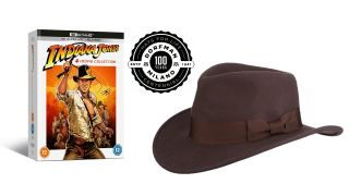 The Indiana Jones 4-Movie Collection, and a Dorfman Pacific Indiana Jones hat.