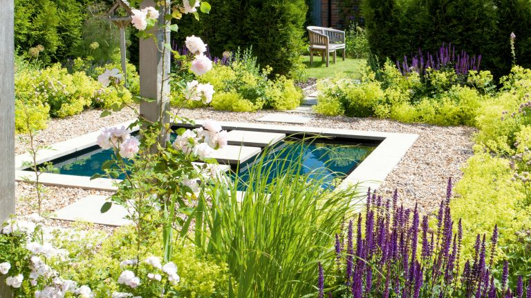 sensory garden ideas: pond with stepping stones