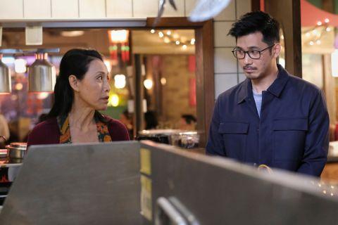 "Kung Fu -- ""Choice"" -- Image Number: KF110a_0112r.jpg -- Pictured (L-R): Kheng Hua Tan as Mei-Li Shen and Jon Prasida as Ryan Shen -- Photo: Bettina Strauss/The CW -- ?? 2021 The CW Network, LLC. All Rights Reserved"