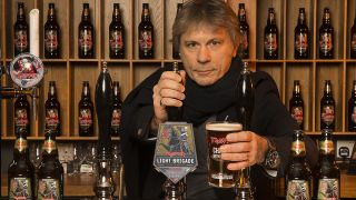 Bruce Dickinson with the Light Brigade ale