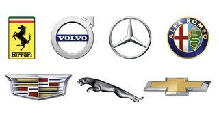 Logos for Ferrari, Volvo, Mercedes-Benz, Alfa Romeo, Cadillac, Jaguar and Chevrolet