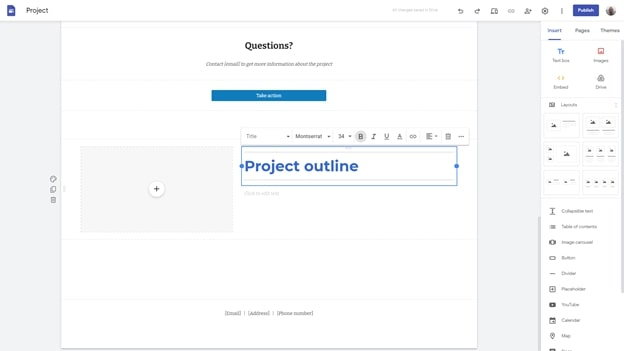 Google Sites' website builder interface in use