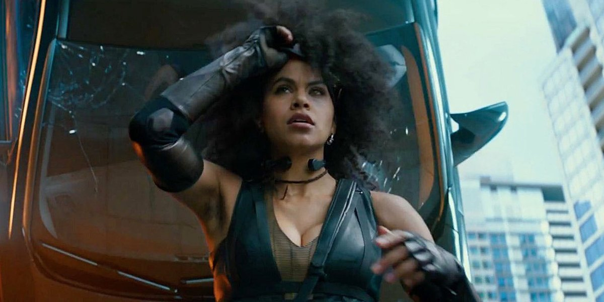 Zazie Beetz car accident in Deadpool 2