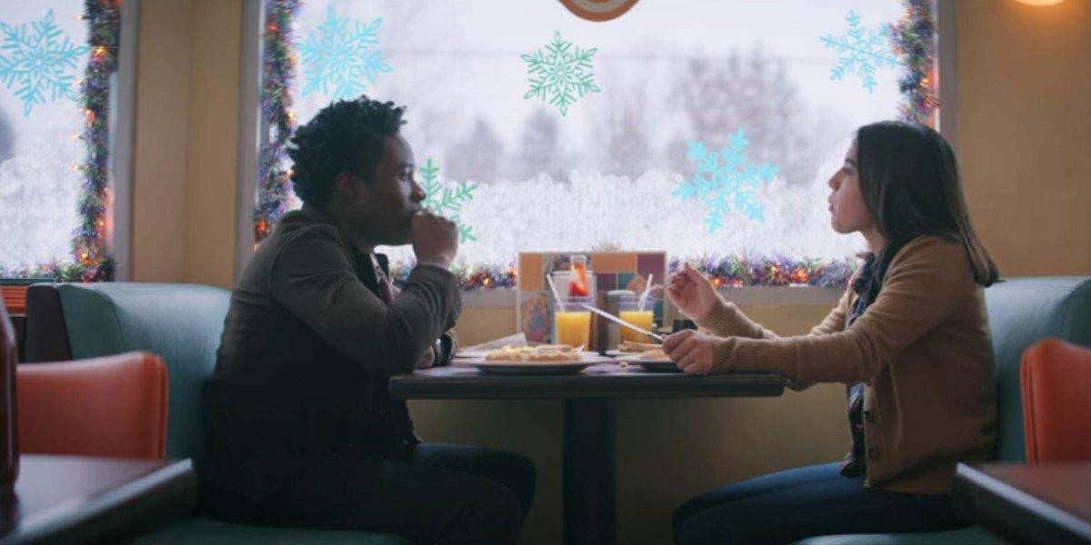 Isabela Moner and Shameik Moore in Let It Snow