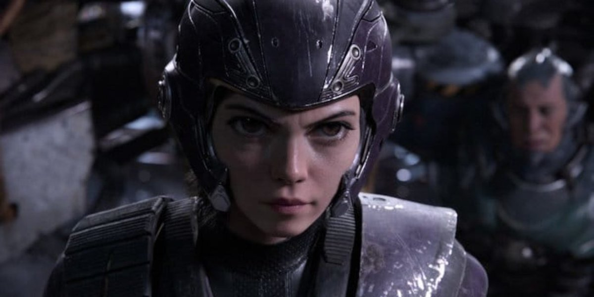 Alita: Battle Angel Alita's in her Motorball armor, with her war face on