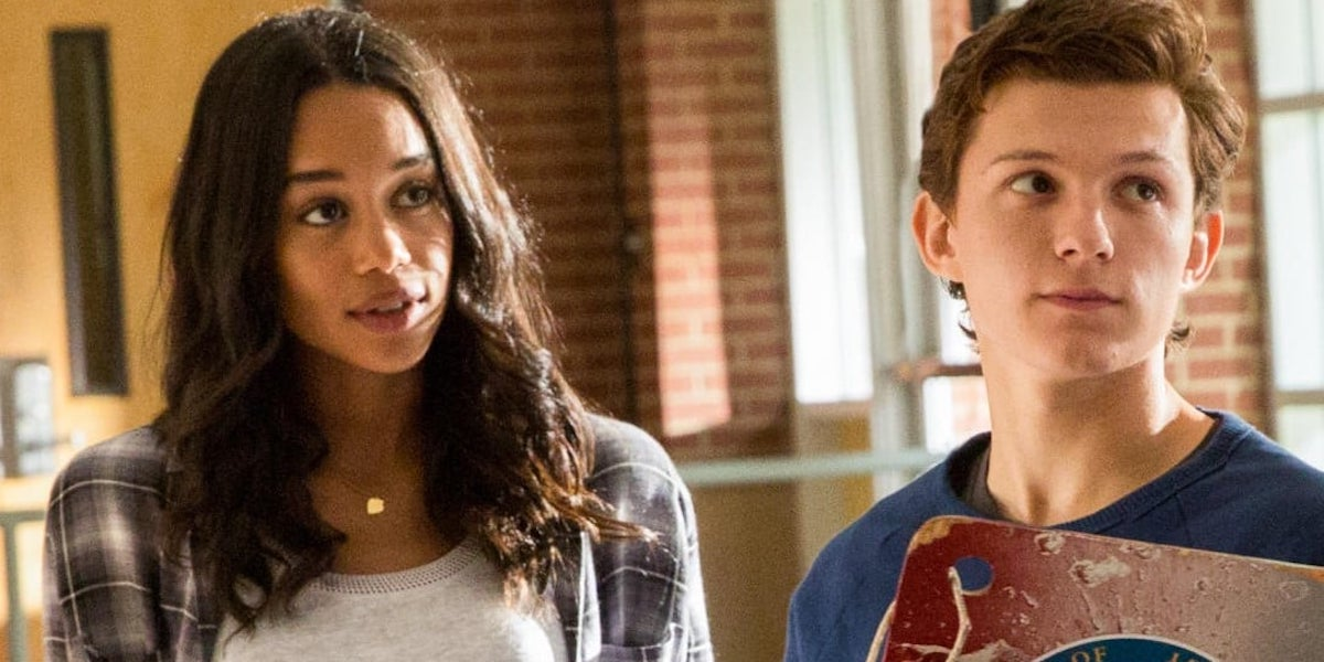 Laura Harrier and Tom Holland as Liz and Peter Parker in Spider-Man: Homecoming