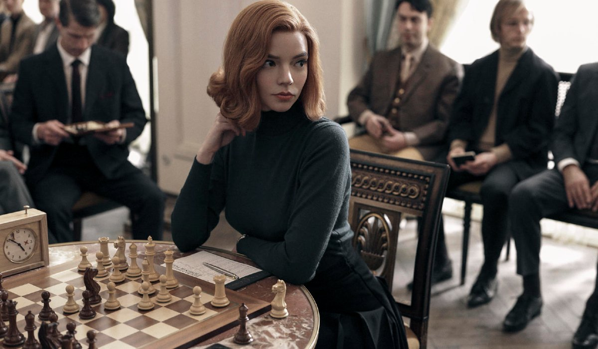 The Queen's Gambit Anya Taylor-Joy sits in the middle of a chess match
