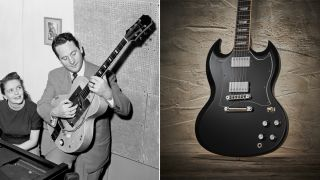 Les Paul and a Gibson SG