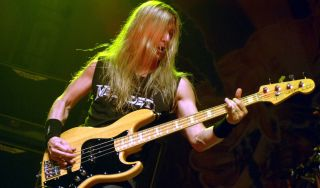 James LoMenzo performs with Megadeth at the San Jose State Event Center on May 19, 2008 in San Jose, California