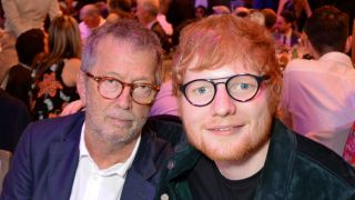 Eric Clapton (L) and Ed Sheeran attend the Ivor Novello Awards 2018 at Grosvenor House, on May 31, 2018 in London, England.