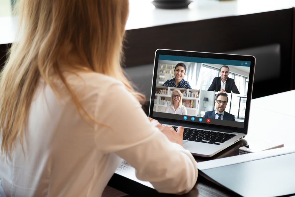 Woman on video call in office