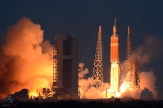 Lift Off of NASA's First Orion Space Capsule