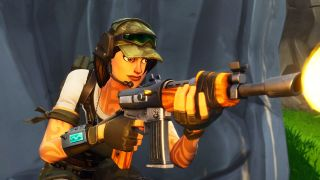 Ramirez takes aim in her new Trailblazer outfit from the Fortnite Twitch Prime Pack #2.
