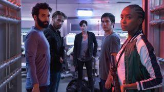 From left, Marwan Kanzari, Matthias Schoenaerts, Charlize Theron, Luca Marinelli, and KiKi Layne in The Old Guard on Netflix.