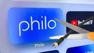Philo电视流媒体服务标志用剪刀剪断电线