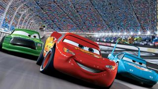 """Chip Hicks, Lightning McQueen, and Strip """"The King"""" Weathers race in Cars"""