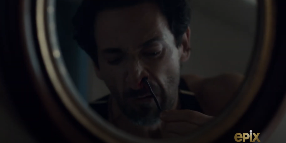 adrien brody pulling worm from his nose in chapelwaite