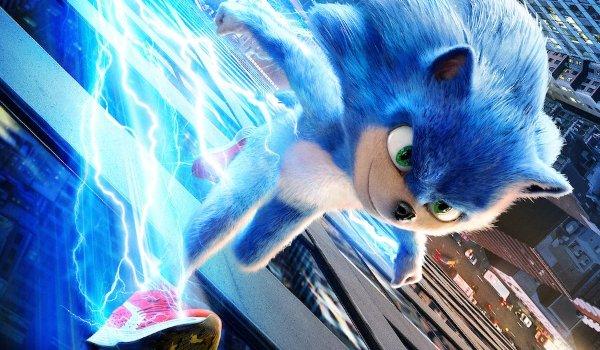 Sonic The Hedgehog running fast alongside a building