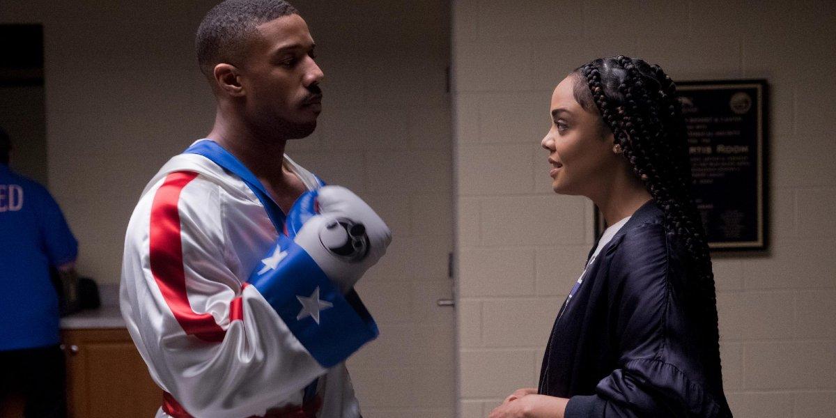 Creed II Michael B. Jordan in his pre-fight robe, talking to Tessa Thompson