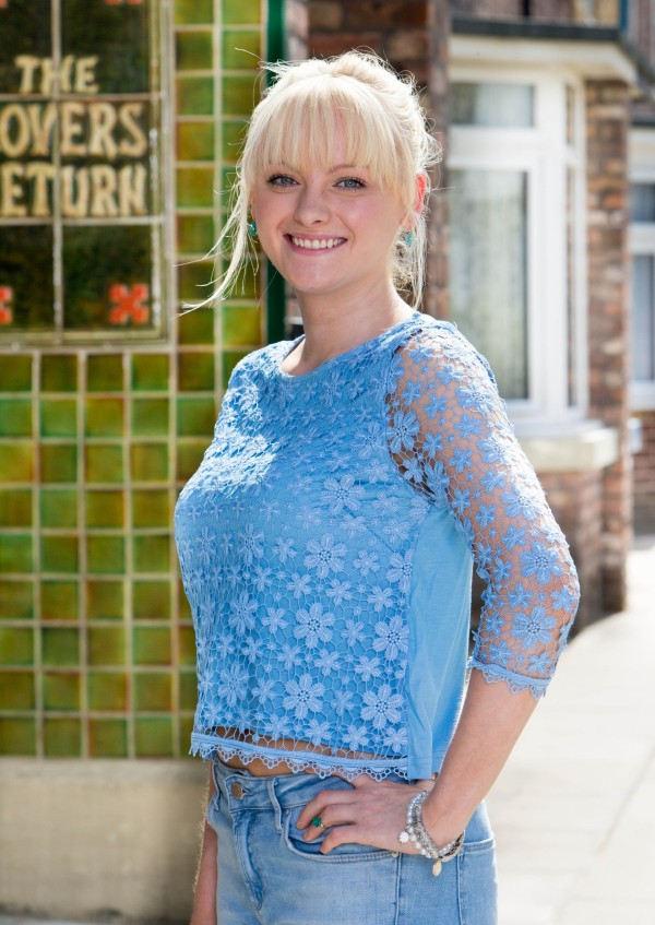 A picture of Katie McGlynn as Corrie's Sinead