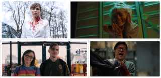 Stills from The Columnist, 12 Hour Shift, Dinner in America, and Slaxx