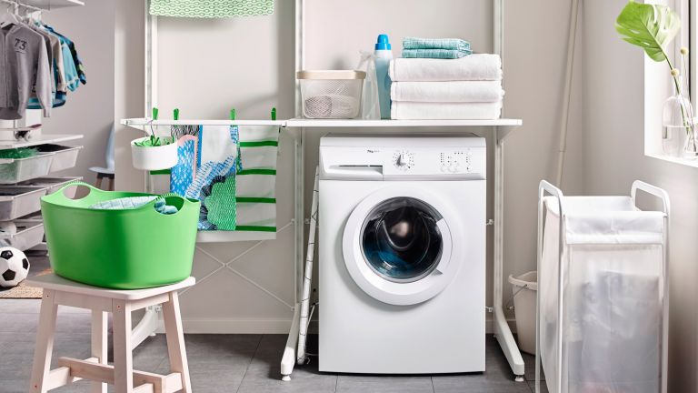 Laundry hacks: laundry room with washing machine and washing by Ikea
