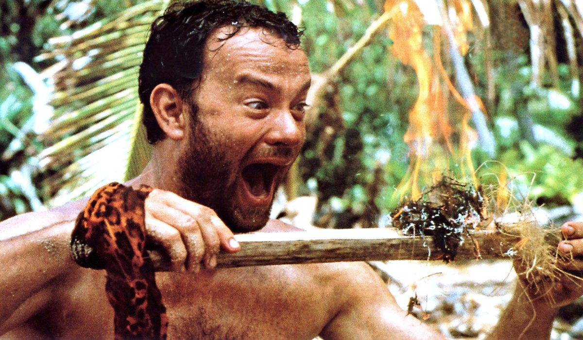 Cast Away Tom Hanks laughs at his fire