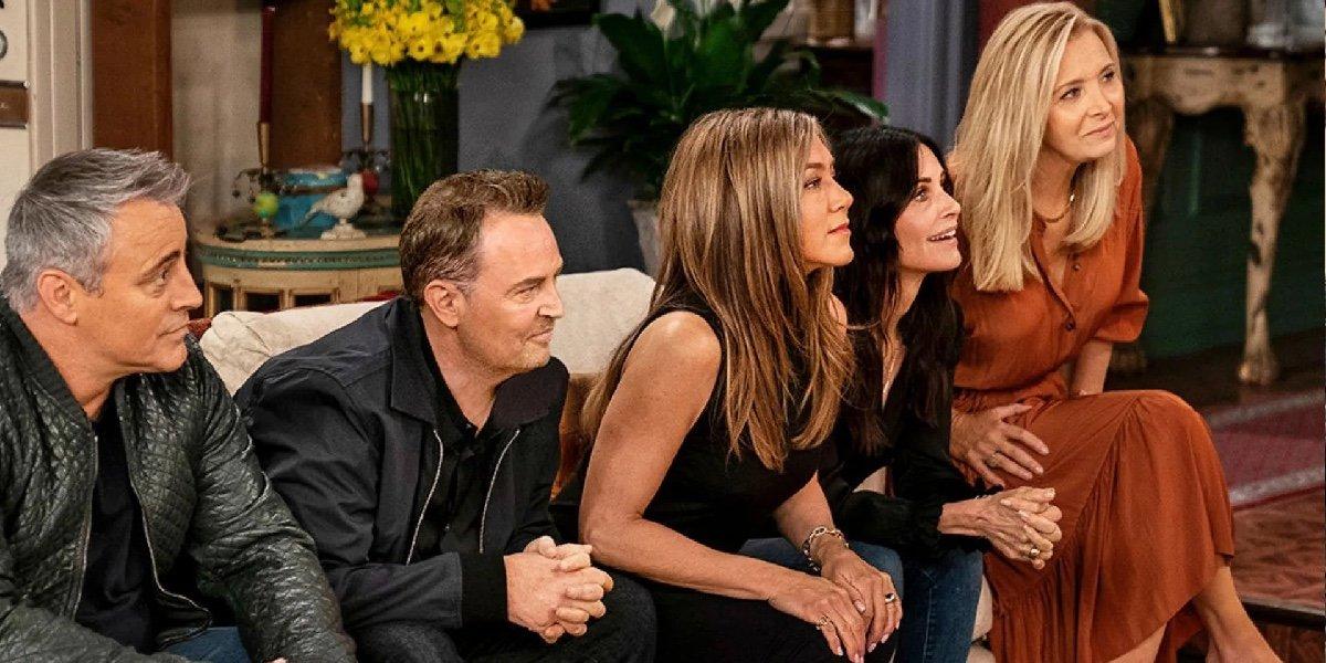 Matt LeBlanc, Matthew Perry, Jennifer Aniston, Courteney Cox, and Lisa Kudrow on Friends: The Reunion.