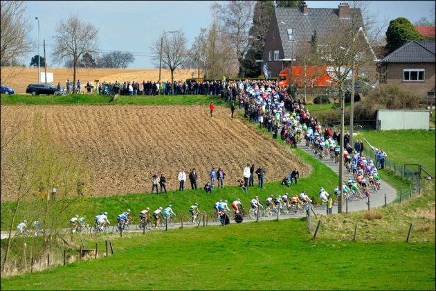 The peloton in the 2012 Tour of Flanders