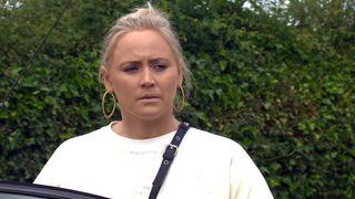 Tracy Metcalfe looking sad in Emmerdale