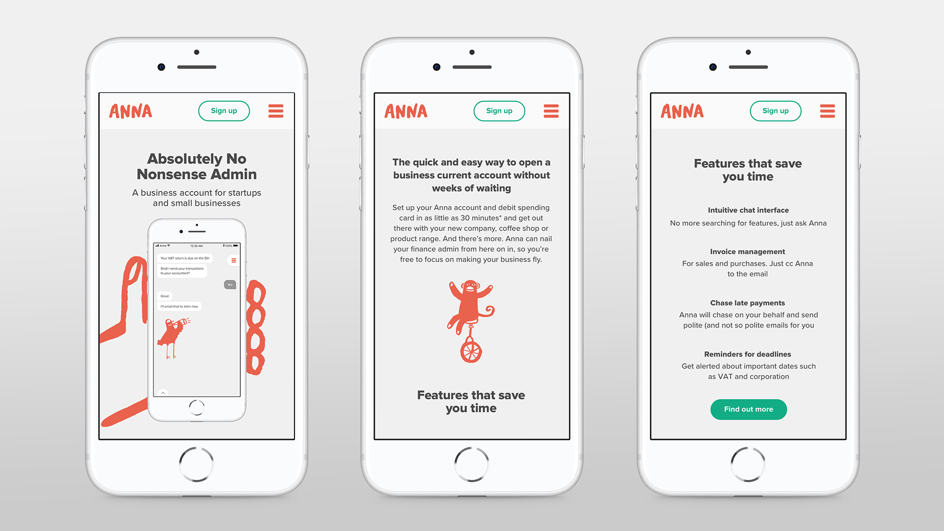 Mobile devices displaying the ANNA app