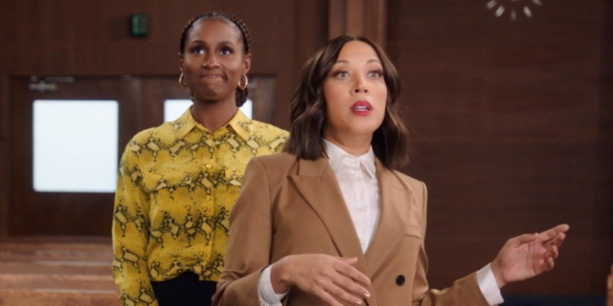issa rae and robin thede in courtroom on a black lady sketch show