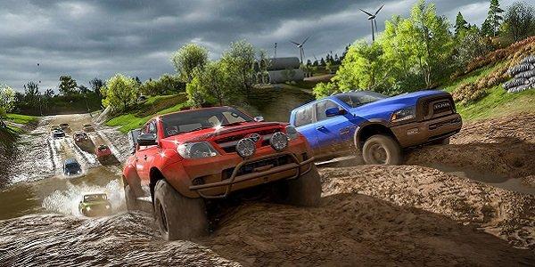 Vehicles racing in Forza Horizon 4.