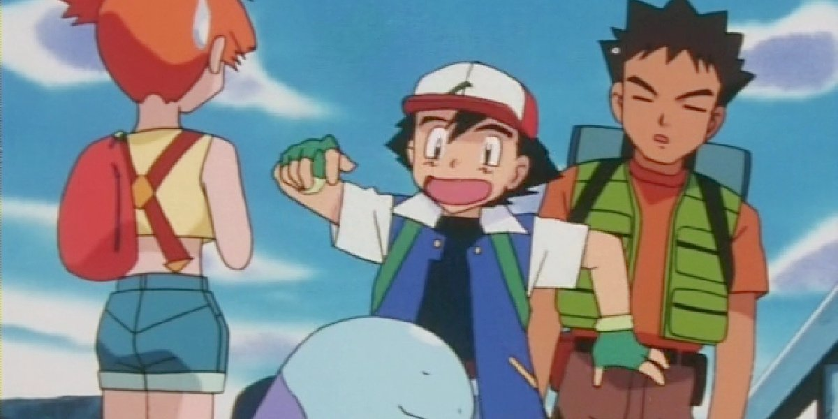 Ash with Misty and Brock getting scared in Pokemon: Johto.