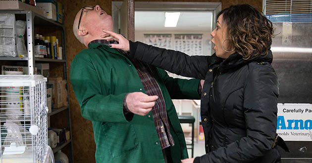 Chas Dingle's attempts to kiss Paddy Kirk don't go to plan when a gerbil escapes and Chas accidentally hits Paddy, giving him a bleeding lip in Emmerdale. Paddy