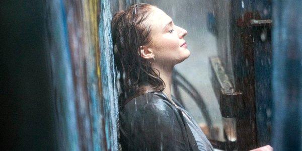 Dark Phoenix Sophie Turner as Jean Grey closes her eyes in the rain