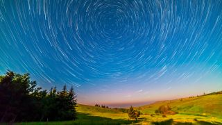 Stars wheeling about the North Celestial Pole